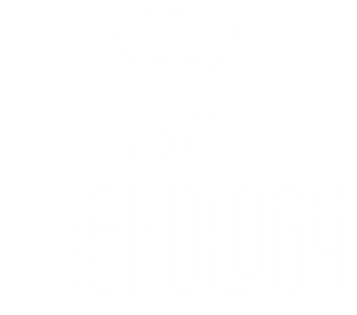 Chefs hat with a bow tie below it and the name Chefology